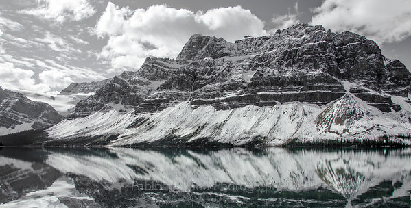 Bow Lake Study in Black and White