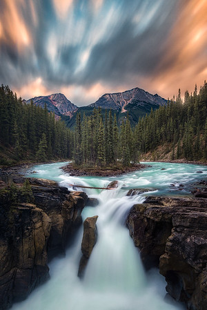A long exposure during sunrise at Sunwampta Falls - Jasper National Park