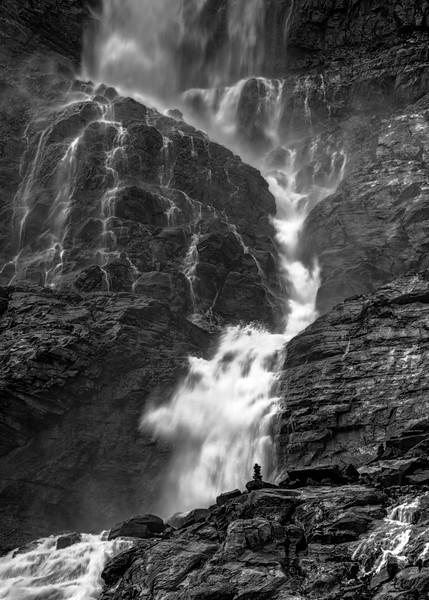 Cairn at Bow Glacier Falls