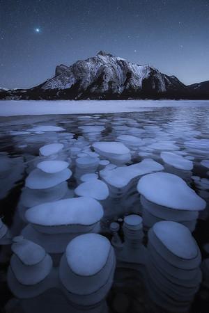 Frozen methane bubble at Abraham Lake - Canada