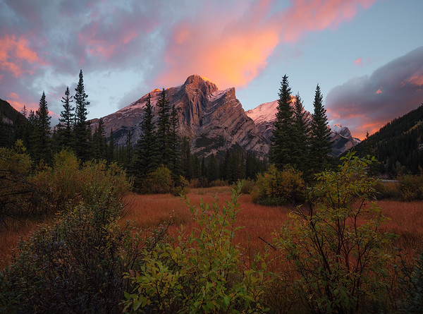 A colorful sunrise with fall colors