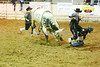 Dean Glencross (right bullfighter) distracts Tree Shaker while Stetson gets up.