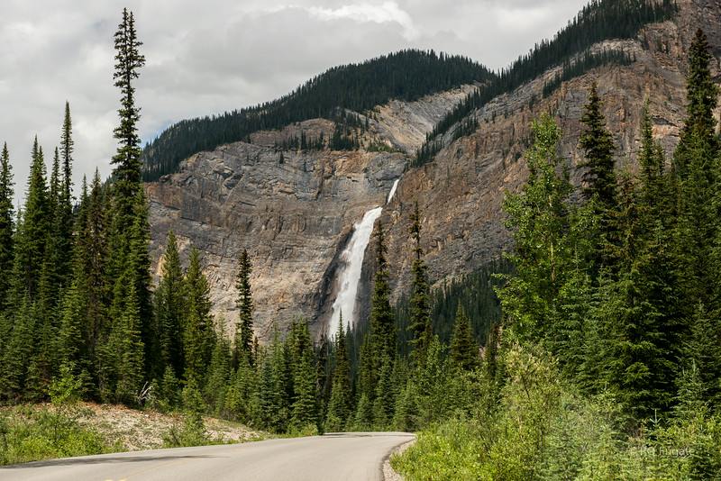 Takakkaw Falls in British Columbia and Yoho National Park. As seen from the approach on Yoho Valley Road.
