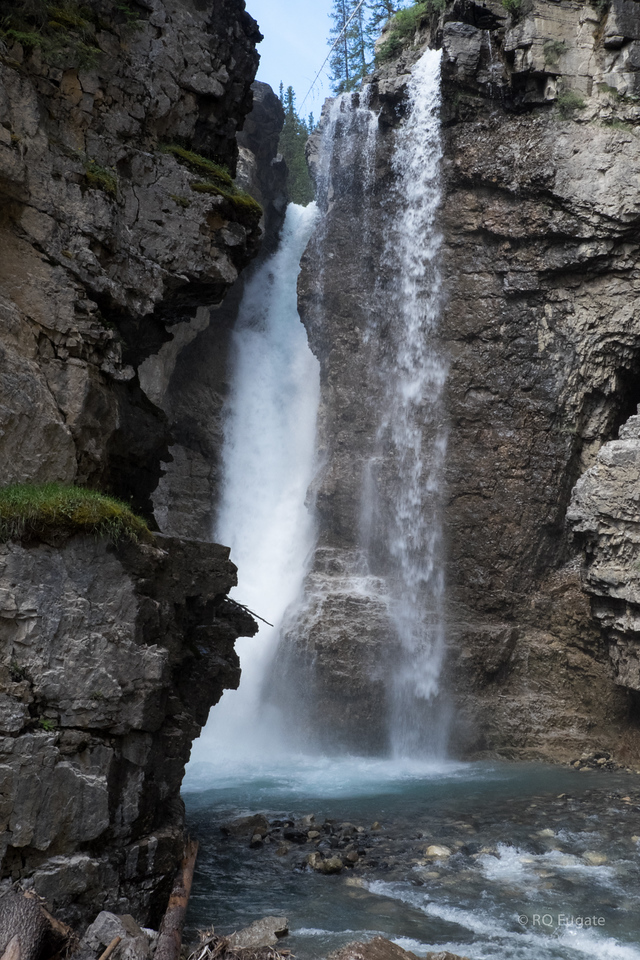 Upper Falls in Johnston Canyon ~100 feet high. 1.5 miles from the parking lot.