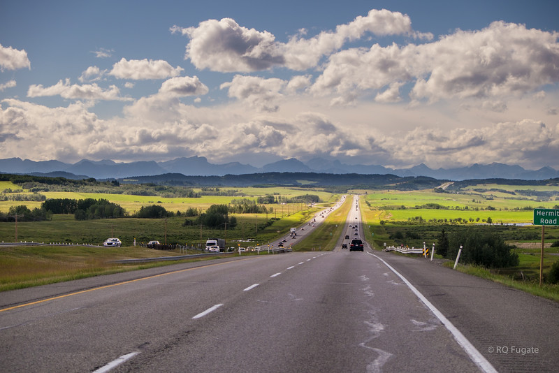 Road to Canmore, west of Calgary.