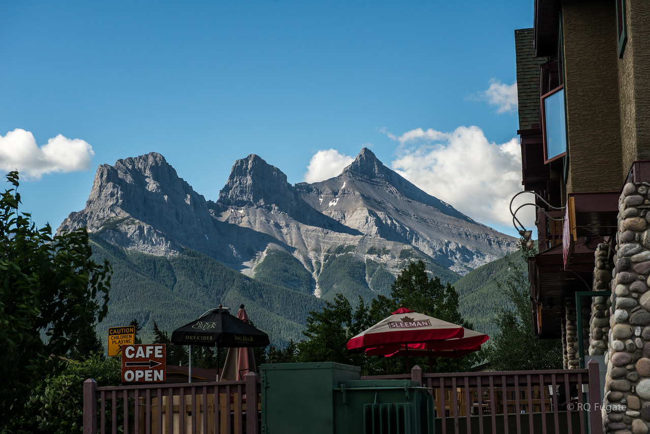 Heading out for Jasper National Park hoping to see some wildlife. This is a shot of the Three Sisters mountain range in Canmore.