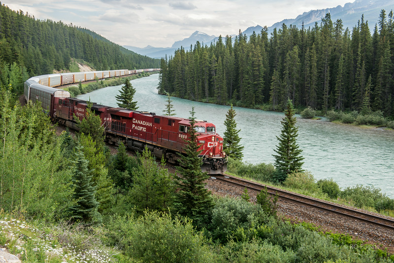 Train along the Bow River.