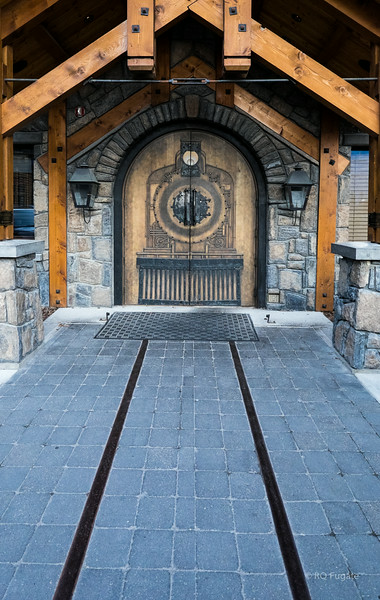 Entrance to the Iron Goat in Canmore. The Iron Goat was a locomotive - note the rails. We met friends from Calgary here for dinner Monday night.