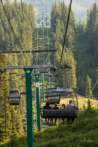 Chairlift and Gondola at Lake Louise ski area.