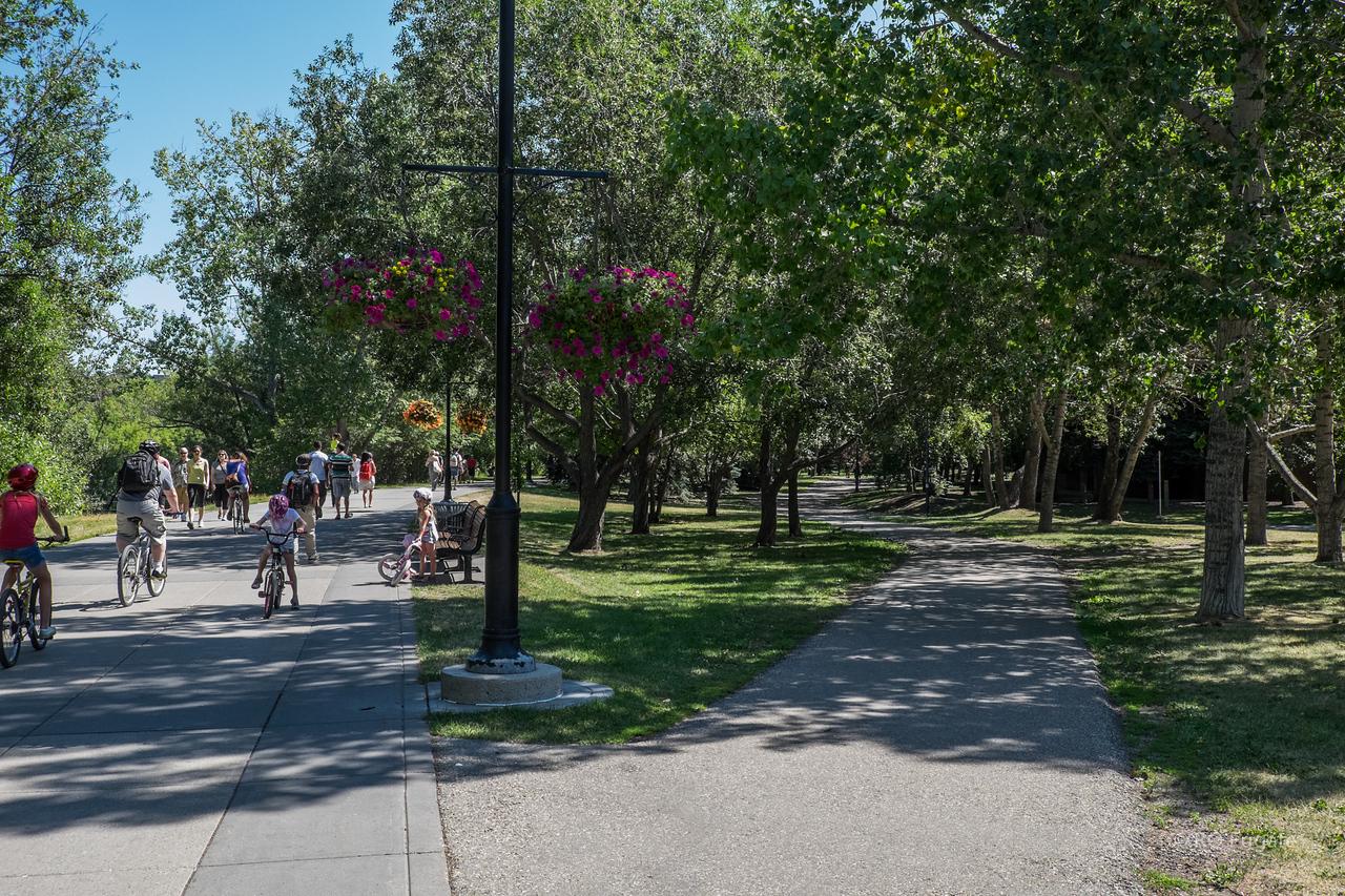 Bike and walk path along the river in Calgary.