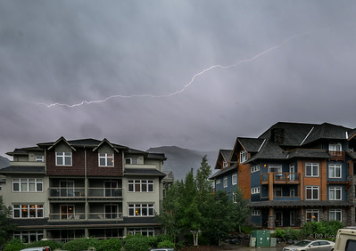 Lightning activity viewed from the balcony of the Canmore condo.