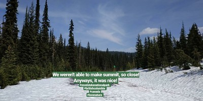Too much snow :( but we were so close  (Mt. Revelstoke National Park)