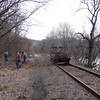 Cleaning the tracks for the steam train operated by The New York Susquehanna & Western Technical & Historical Society.