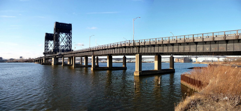 Routes 1&9 bridge across the Hackensack, looking west towards Kearny. The Morris Canal crossed the river at this spot.