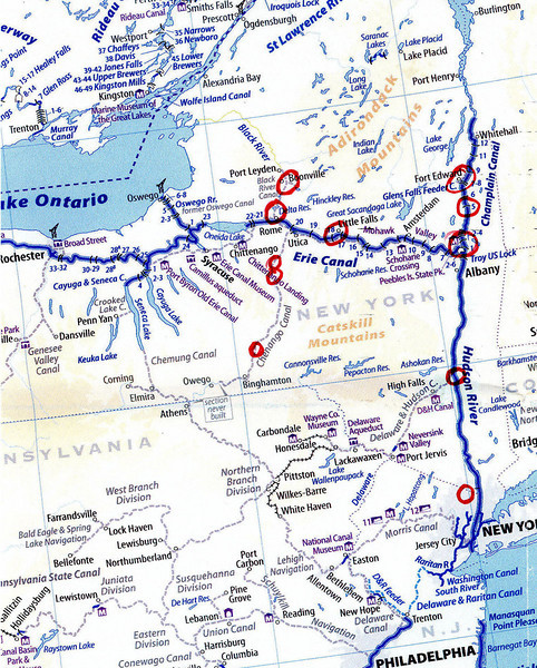 The red circles show the start place in Mahwah, NJ, and the sight-seeing stops, on the 4-day trip.