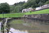 The restored basin at Resolven. At present a section of the Neath Canal beyond Resolven is unrestored and would require the reinstatement of an over bridge on the site of the twin bore culverts under Commercial Road.