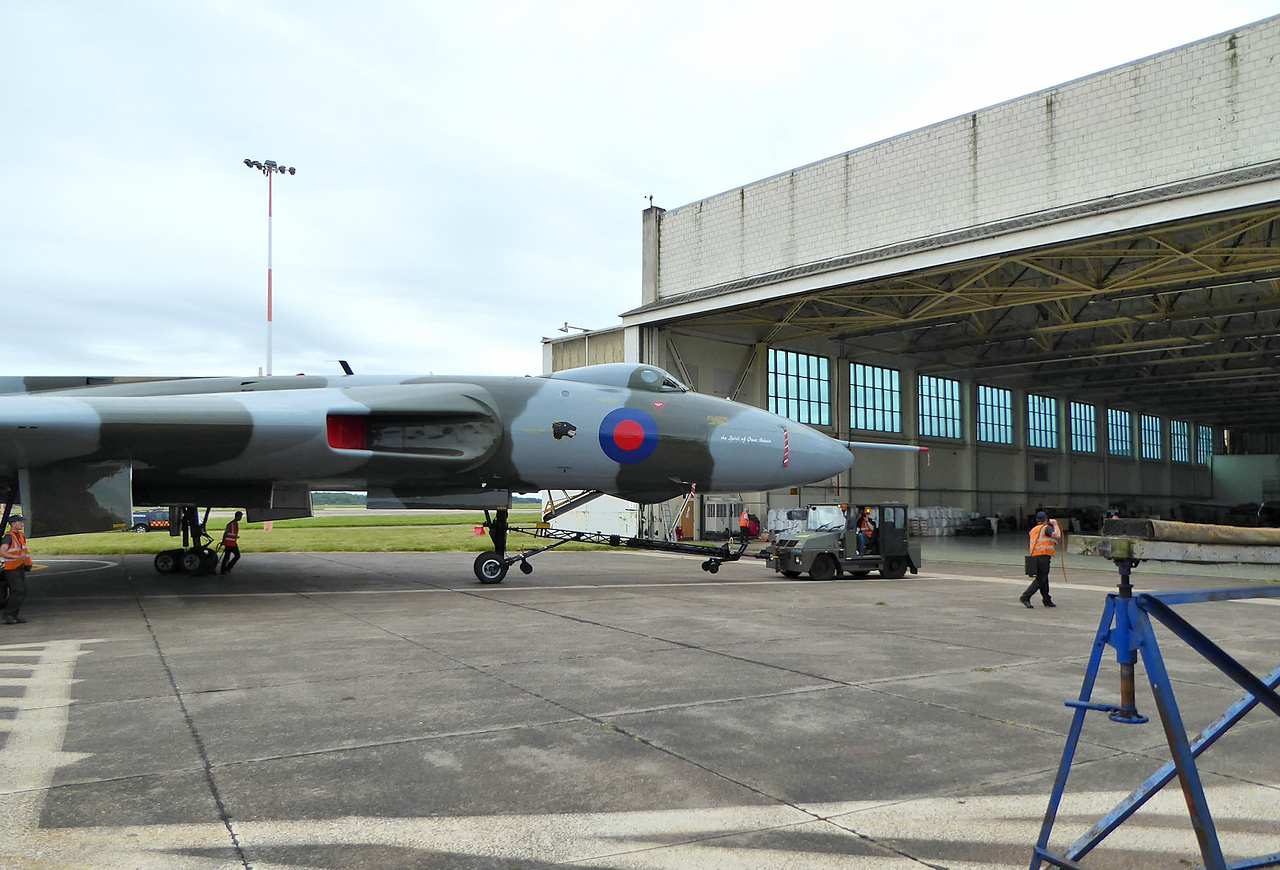 Vulcan B2, XH558 is towed into Hangar 3 to join her new stablemate WK163.<br /> By Correne Calow.