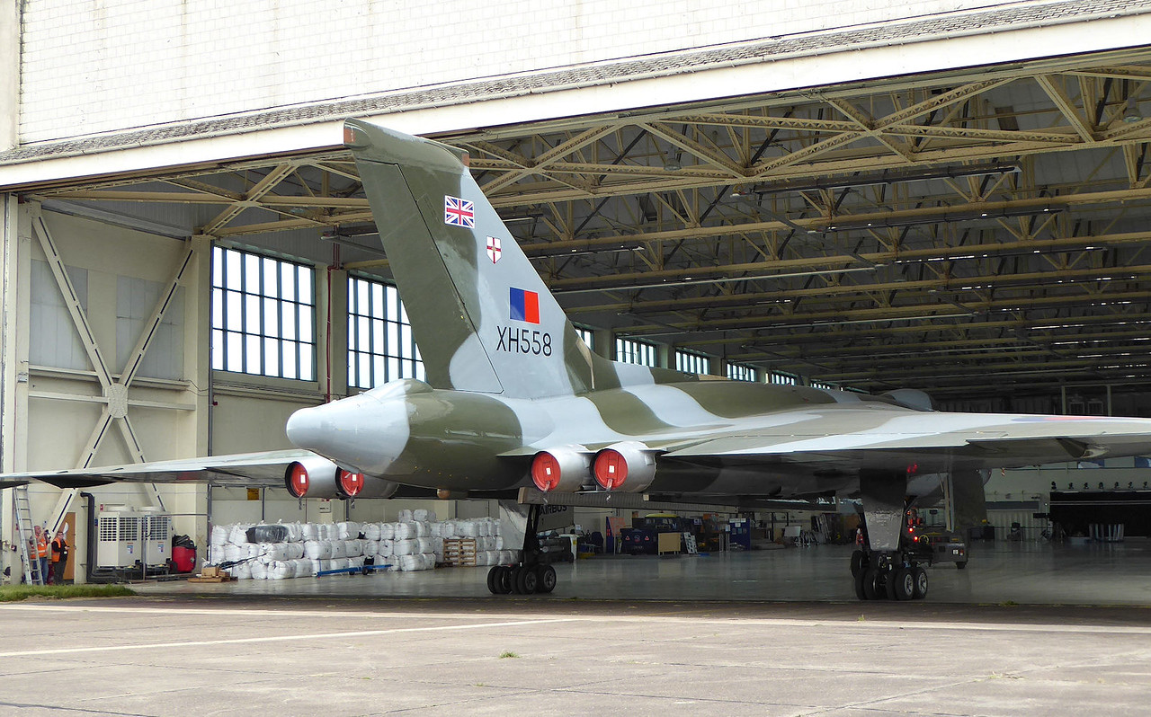 Vulcan B2, XH558 is pushed out of the hangar to make room for WK163.<br /> By Correne Calow.