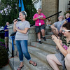 Both cancer survivors and also their loved ones and supporters gathered on the steps of Leominster City Hall on Tuesday evening to share their stories of survival and ring a bell signifying their battle with cancer. SENTINEL & ENTERPRISE / Ashley Green