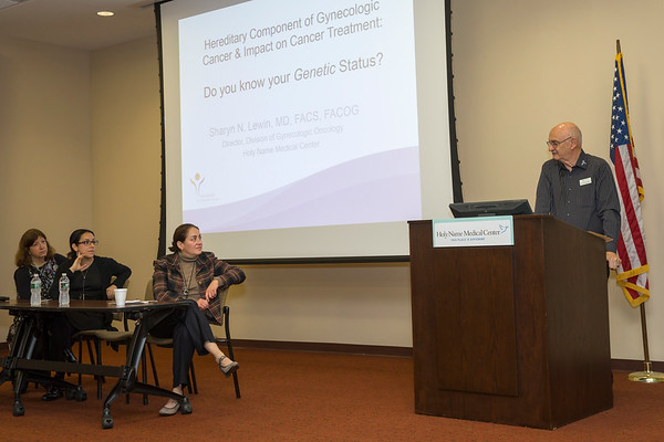 Holy Name Hereditary Cancers and Genetics Symposium held at Holy Name on October 27, 2019. Photo by Jennifer Brown<br /> <br /> 1:15 -1:25 Dr Lewin- you will be first up to do an Introduction<br /> 1:25 -1:35  Then Dave will give an overview of FORCE <br /> 1:55 - 2:40<br />  the panelists will speak 15 min each<br /> Dr Mendoza - breast surgeon <br /> Peggy Cottrel- Genetics Counselor <br /> Dr Lewin Dir of GYN oncology and surgery <br /> 2:40 - 310 Q and A<br /> 310- 330 mingle at tables and obtain information