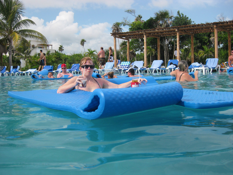 Cheri relaxing in the main pool