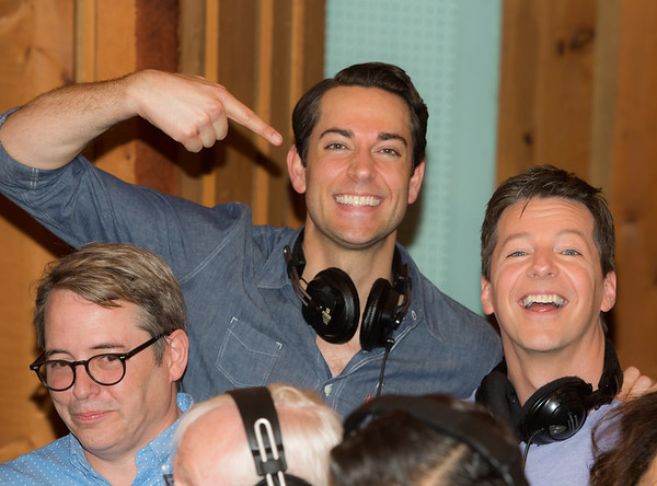 "Matthew Broderick, Zachary Levi and Sean Hayes at the Broadway for Orlando benefit single recording of ""What the World Needs Now Is Love"" - June 15, 2016 - Avatar Studios, NYC (Photo: Jeremy Daniel)"