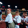 "<b>2008 ALCS, Game 5</b> - If you walk around Fenway Park with any large-ish camera, and a ticket in a placard, people will think you are the press.  These children's custodian insisted I take their photo.  ""Sure, why not."""
