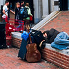 <b>Homeless Street Performer</b> - I can't even sleep on my back, let alone on a slab of concrete in the middle of a busy city square.  I wasn't about to wake this man up and find out how he carries on.
