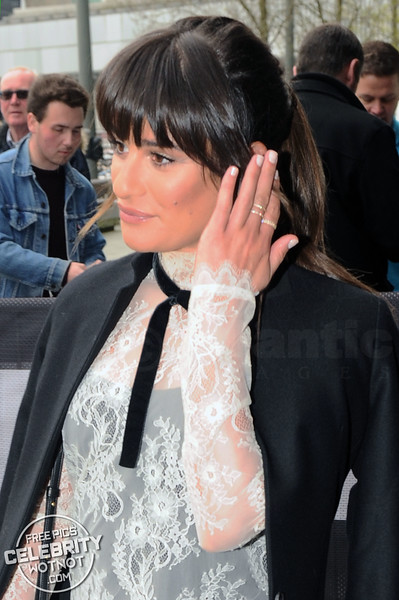 Lea Michele Wardrobe Malfunction With Heels In See-Through Philosophy Dress