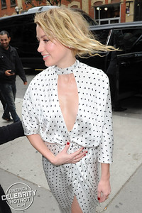 Amber Heard Fashions Butterfly-Inspired Silk Dress in Toronoto, Canada