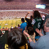 I kept hoping to capture a shot of the crowd celebrating a huge game changing moment to capsulize the seasons first game. However as the game wore on, the conservative offense combined with the Ravens stout defense led to many shots of the crowd that looked like this instead, and this shot was in the 2nd quarter with us still leading 6-0. I stayed to the bitter end, and while the fans exhibited even more expressive frustrations than this, as the game dragged into the 4th quarter, the impact in the photos were weakened by all the empty seats springing up everywhere you looked.