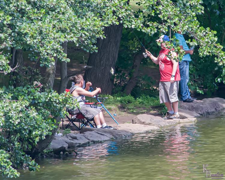 fishing; candid; Staten Island; Clove Lake; summer; NYC