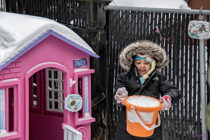 For most of we home owners, a truckload of fresh snow probably means lots of back breaking work. But for my next door neighbor Ava, at '7425 Backyard lane' it just means lots of fun.