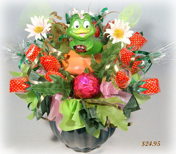 Strawberry glade - $40.00    This bouquet was created for children, and we guarantee they will really enjoy it. In the middle of this lovely composition, they will find a toy that will bring all the childhood stories to life! Includes 3 chocolates and 17 caramel candies.