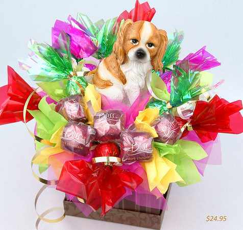 My Friend  - SALE! only $25.00  ( in stock)   This gift has been designed for all those who love animals. In the center of the composition there is a small toy in the form of a dog which is the symbol for true friendship. Includes 17 chocolates.