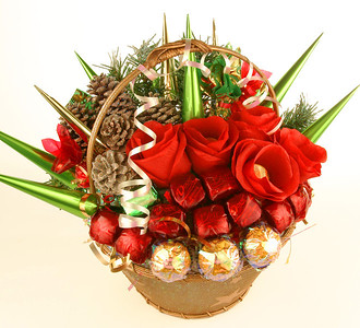 Merry Christmas - $75.00   Beautiful basket present will bring to your house wonderful atmosphere  of Christmas. Decorated with roses. Includes 35 best chocolate candy.