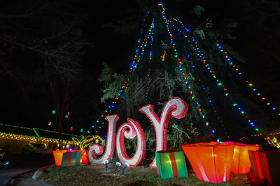 The 7900 block of Outlook Street in Prairie Village, otherwise known as Candy Cane Lane, features a large tree in the middle of the turnaround at the end of the light-filled street.