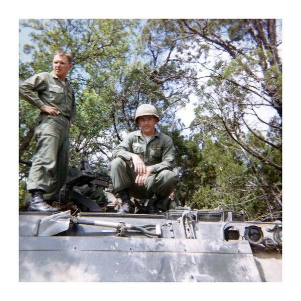 GC-04: Ronald J. Melyan (NJ) and and Gary Caneva (CA) at Ft Hood on April 1967 field maneuvers.
