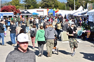 """A bit of agricultural history was made at Redwood Acres Fairgrounds Saturday as Cannifest made a spectacular landing in Eureka touting itself as """"Humboldt's Manifest Cannabis Festival & Trade Gathering.""""  (Jose Quezada - For the Times-Standard)"""