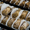 Cannolis on display from Aunty Ellen's during the cannoli festival in downtown Leominster on Thursday evening. SENTINEL & ENTERPRISE / Ashley Green