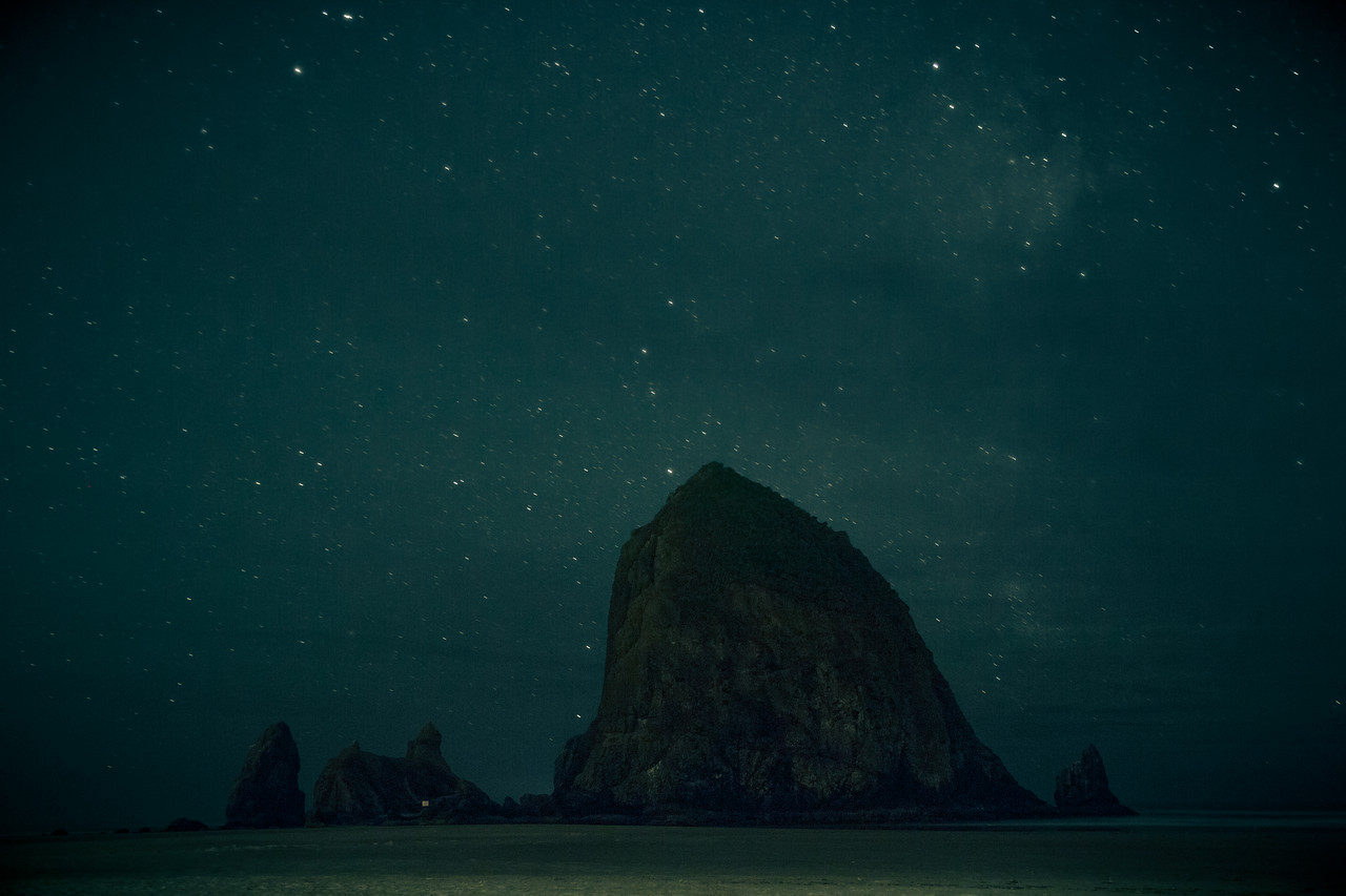 Haystack Rock,  Cannon Beach at night