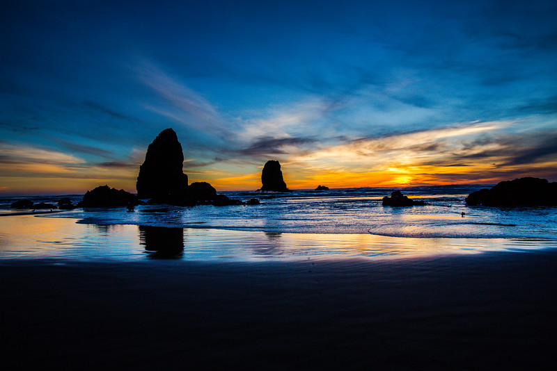 Haystack Rock,  Cannon Beach at sunset