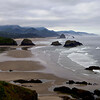 The view from Ecola Point overlooking Cannon Beach during a very low tide.