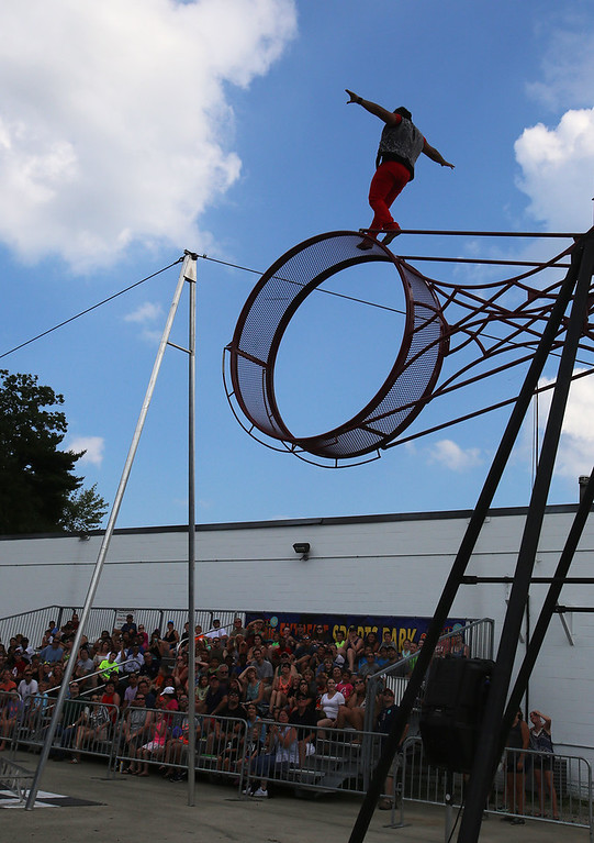 . Performer at Extreme Sports Park at Canobie Lake Park in Salem, N.H. (SUN/Julia Malakie)