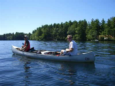 After setting up camp, we set out in our canoes to explore Squam Lake. Jon in front with Mike.