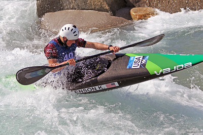 Kaelin Friedenson competes at USA Canoe/Kayak Olympic Trials Day 1 at U.S. National Whitewater Center -- Monday, April 12, 2021