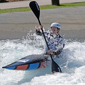 Micajah McCurry competes at USA Canoe/Kayak Olympic Trials Day 1 at U.S. National Whitewater Center -- Monday, April 12, 2021
