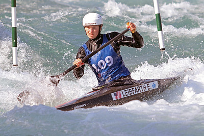 Evy Leibfarth competes in the USA Canoe/Kayak Slalom Olympic Trials Day 3 at U.S. National Whitewater Center -- Wednesday, April 14, 2021