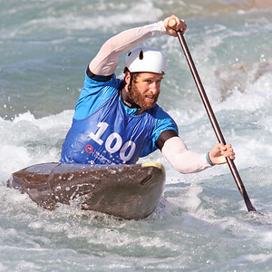 Devin McEwan competes in the USA Canoe/Kayak Slalom Olympic Trials Day 3 at U.S. National Whitewater Center -- Wednesday, April 14, 2021