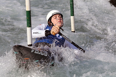 Michaela Corcoran competes in the USA Canoe/Kayak Slalom Olympic Trials Day 3 at U.S. National Whitewater Center -- Wednesday, April 14, 2021